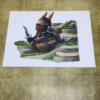 'Rabbit Ninja' blank greeting card