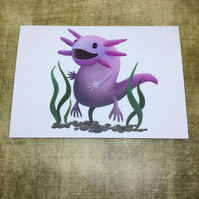 Amazing Axolotl blank greeting card