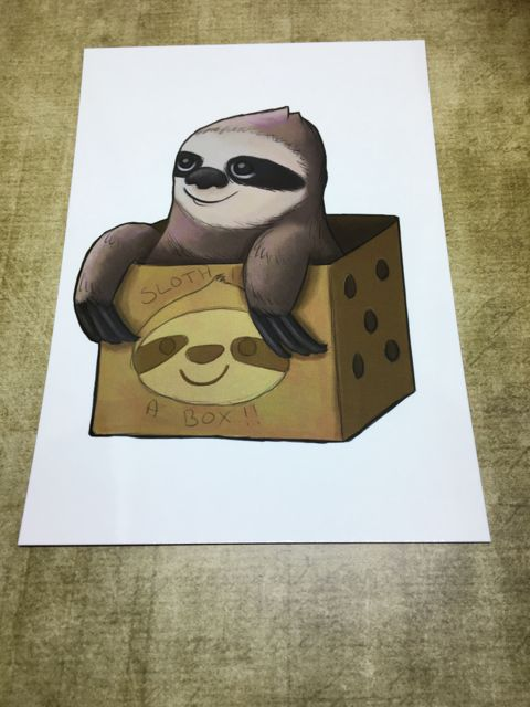 Sloth in a Box post card