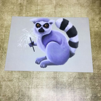 Sparkler Lemur blank greeting card