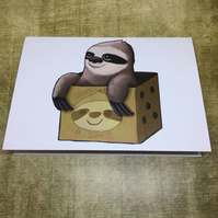 'Sloth in a Box' blank greeting card