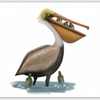 Party Pelican blank greeting card