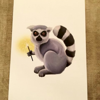 Lemur with sparkler blank greeting card