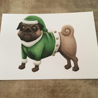 Christmas elf pug post card