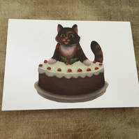Set of 4 Christmas Cat Cards (Assorted)