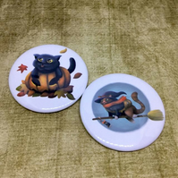 2 Halloween Cat Magnets
