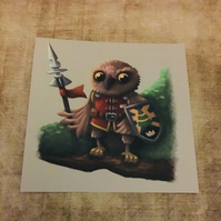 Owl Knight square post card