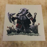 Badger Soldier square post card