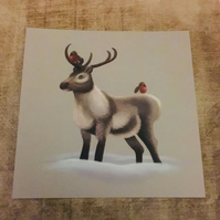 Reindeer & Robins square post card