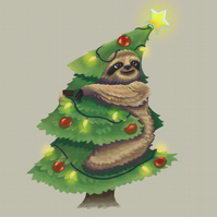 'Christmas Tree Sloth' Limited Edition Art Print