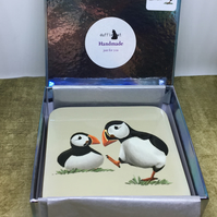 Set of 4 Puffins Coasters