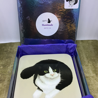 Set of 4 B&W Cat Coasters