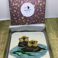Set of 4 Sea Otter Coasters