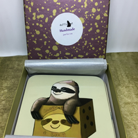 Set of 4 Sloth in a Box Coasters