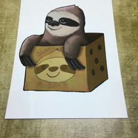Sloth in a box blank greeting card