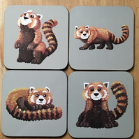 Set of 4 Red Panda Square Coasters