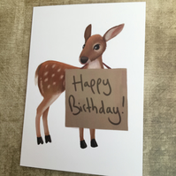 Happy Birthday Deer Greeting Card