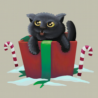 'Christmas Cat in a Box' Limited Edition Art Print