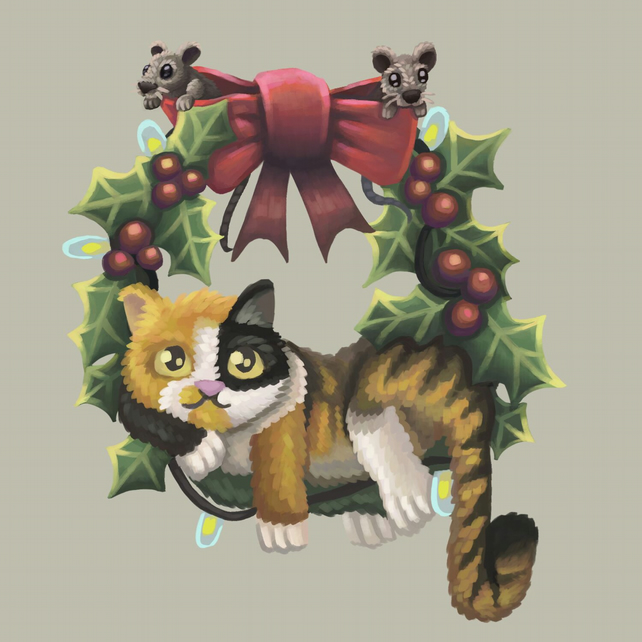 Christmas Cat on a Wreath digital art print