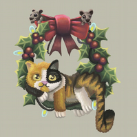 Christmas Cat on a Wreath Art Print
