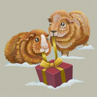 'Christmas Guinea Pigs' Limited Edition Art Print