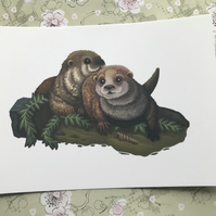 Otters Post Card