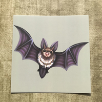 Flying Bat Square Post Card