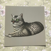 Egyptian Mau Cat Square Post Card