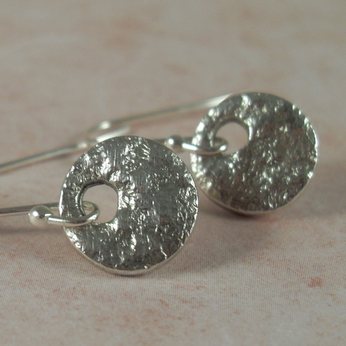 RESERVED FOR JANET - Cute Little Rounds ~ lace textured earrings ~ fine silver