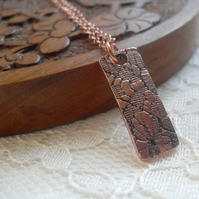 Textured Rectangle ~  Copper Pendant