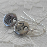 Round Scrawled Heart earrings ~ fine silver