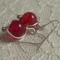 Hot Pink Agate earrings ~ sterling silver