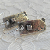 Lace Textured Rectangles ~ fine silver earrings