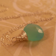 Aqua Blue Chalcedony Pendant ~ Sterling Silver