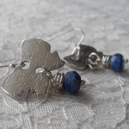 Fine silver Bows ~ earrings ~ Sodalite