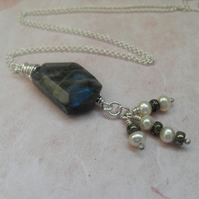 Labradorite Pendant ~ Pyrite & Freshwater pearls ~ sterling silver