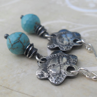 Reserved for Shaun - Hearts & Flowers ~ fine silver earrings ~ Turquoise