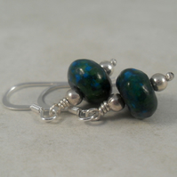 Natural Azurite Malachite Earrings ~ Sterling Silver