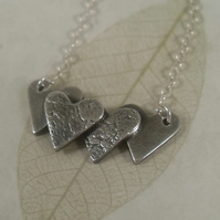 Layered Hearts ~ pendant ~ fine silver