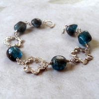 Reserved for Janet - Fine Silver Flowers ~ Apatite ~ bracelet