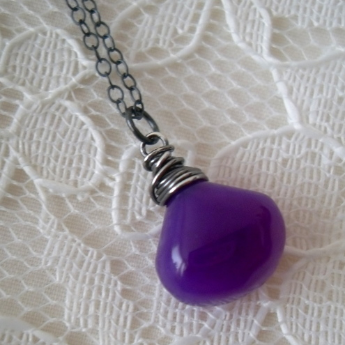 **SALE** Violet pendant - with oxidized silver