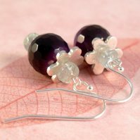 Dark Purple Agate earrings ~ with Aquamarine and fine silver flowers