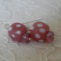 Pink Polka Dot ~ Earrings