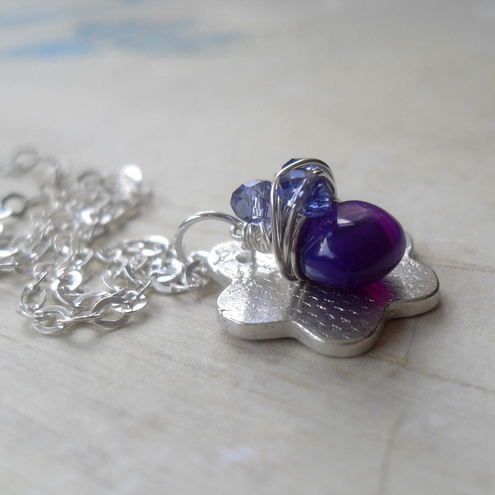 Sweet Violet Flower ~ Pendant ~ Violet Chalcedony & Tanzanite