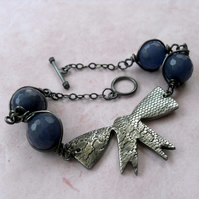 Textured Bow bracelet ~ Blue Jade beads ~ oxidized silver