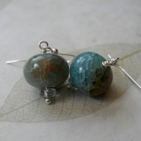 SALE SALE SALE Hazy Blue - earrings - Agate & Aquamarine