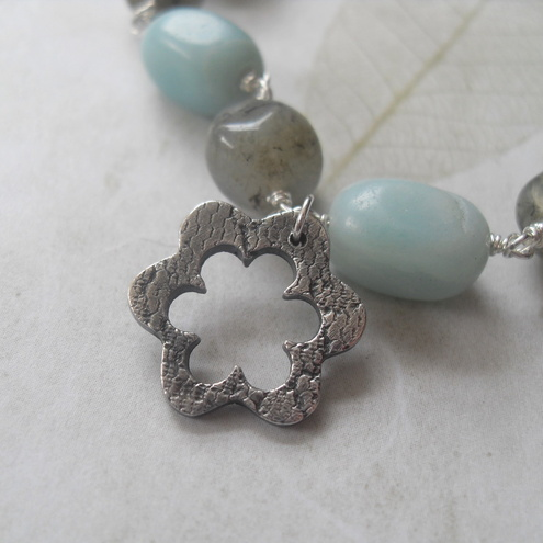 RESERVED Amazonite & Labradorite bracelet - with fine silver flower charm