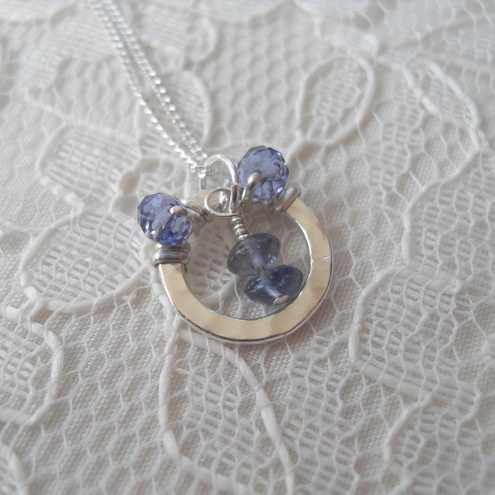 **SALE**Hammered Ring Pendant - with Tanzanite and Iolite