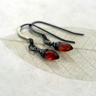 RESERVED Garnet earrings - made with oxidized silver