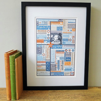 'Year You Were Born' Framed Personalised Print. Smoke Blue.